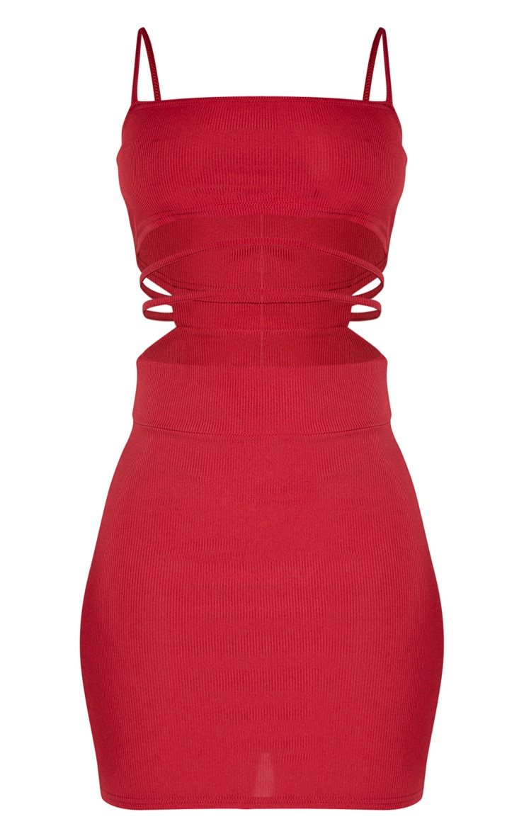 Scarlet Ribbed Strappy Cut Out Detail Bodycon Dress 3