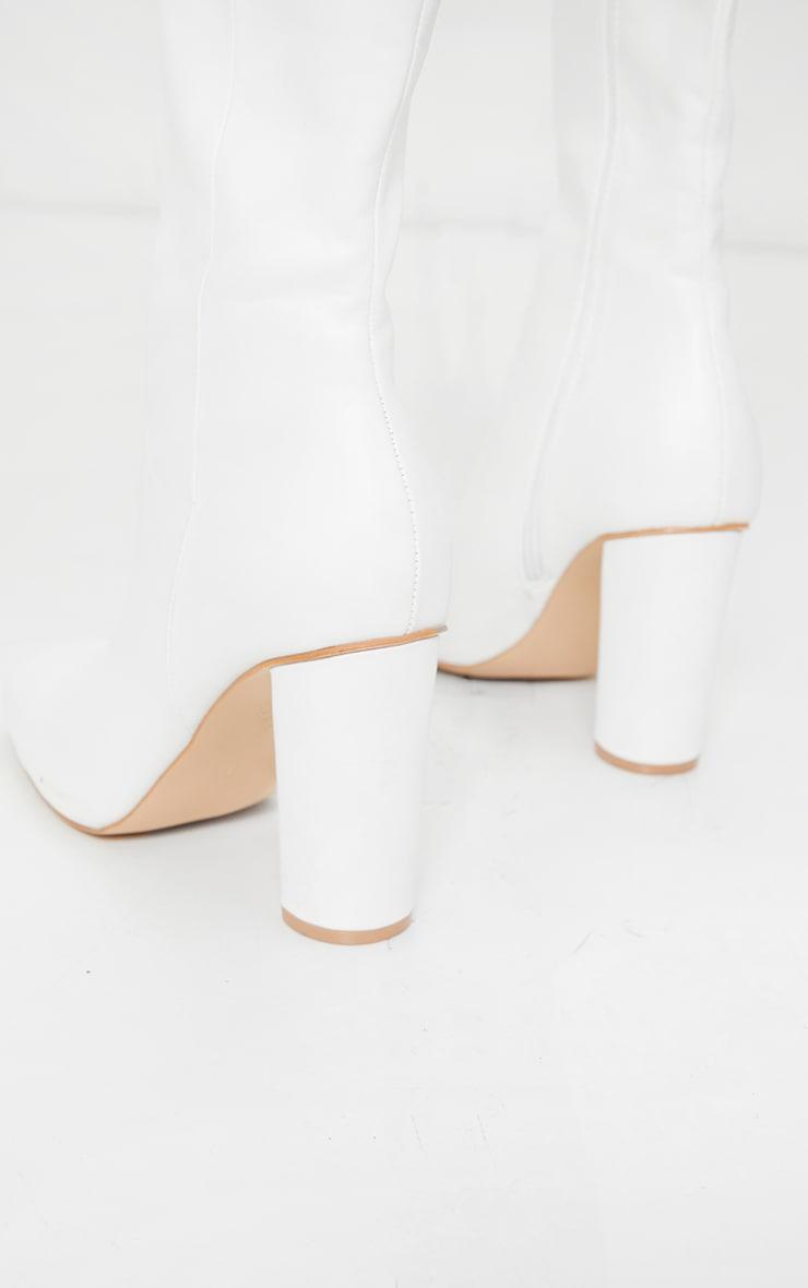 White Round Block Heel Knee High Boots 4