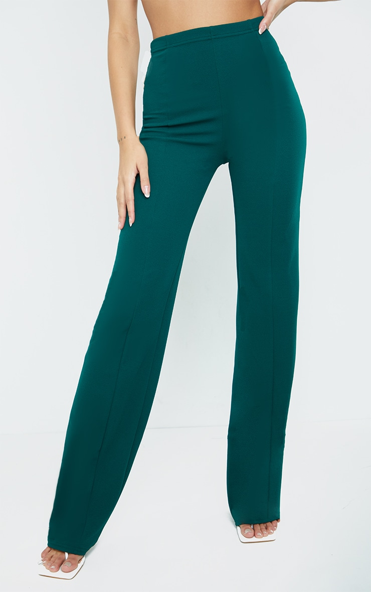 Teal Crepe Seam Front Wide Leg Trousers 2