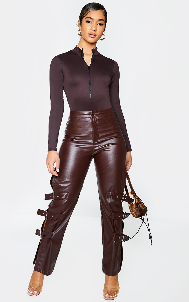 Chocolate Bonded Scuba High Neck Zip Bodysuit 3