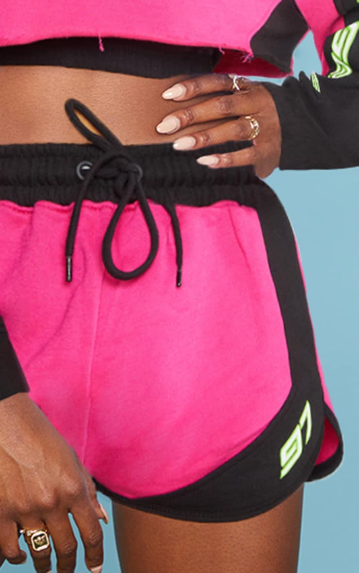 Hot Pink 97 Printed Sweat Shorts 6