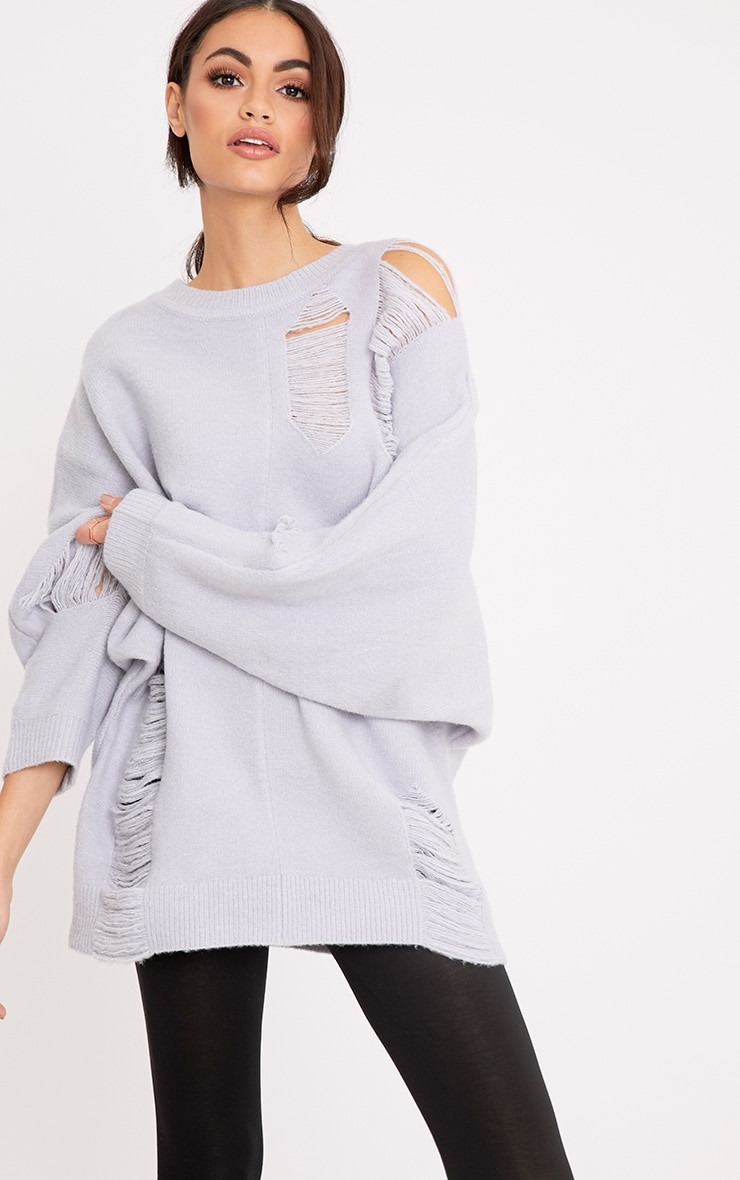 Raysha Light Grey Distressed Over Sized Knitted Jumper 1