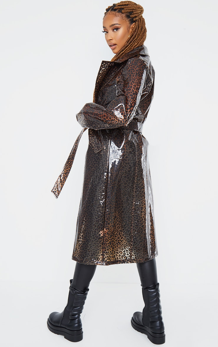 Brown Leopard Print Trench 3