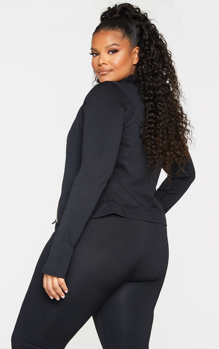 Plus Black Seamless Rib Detail Jacket 2