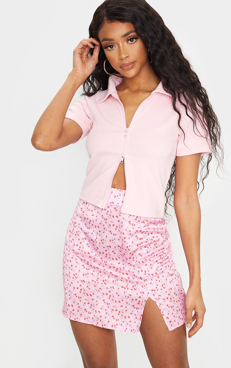 Pink Floral Satin Split Mini Skirt 4