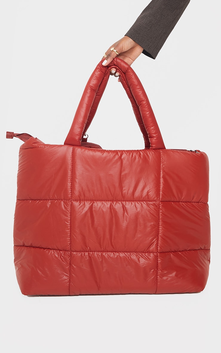 PRETTYLITTLETHING Red Swirl Logo Quilted Oversized Tote Bag 3
