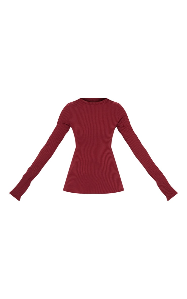 Maroon Rib Crew Neck Long Sleeve Top 3