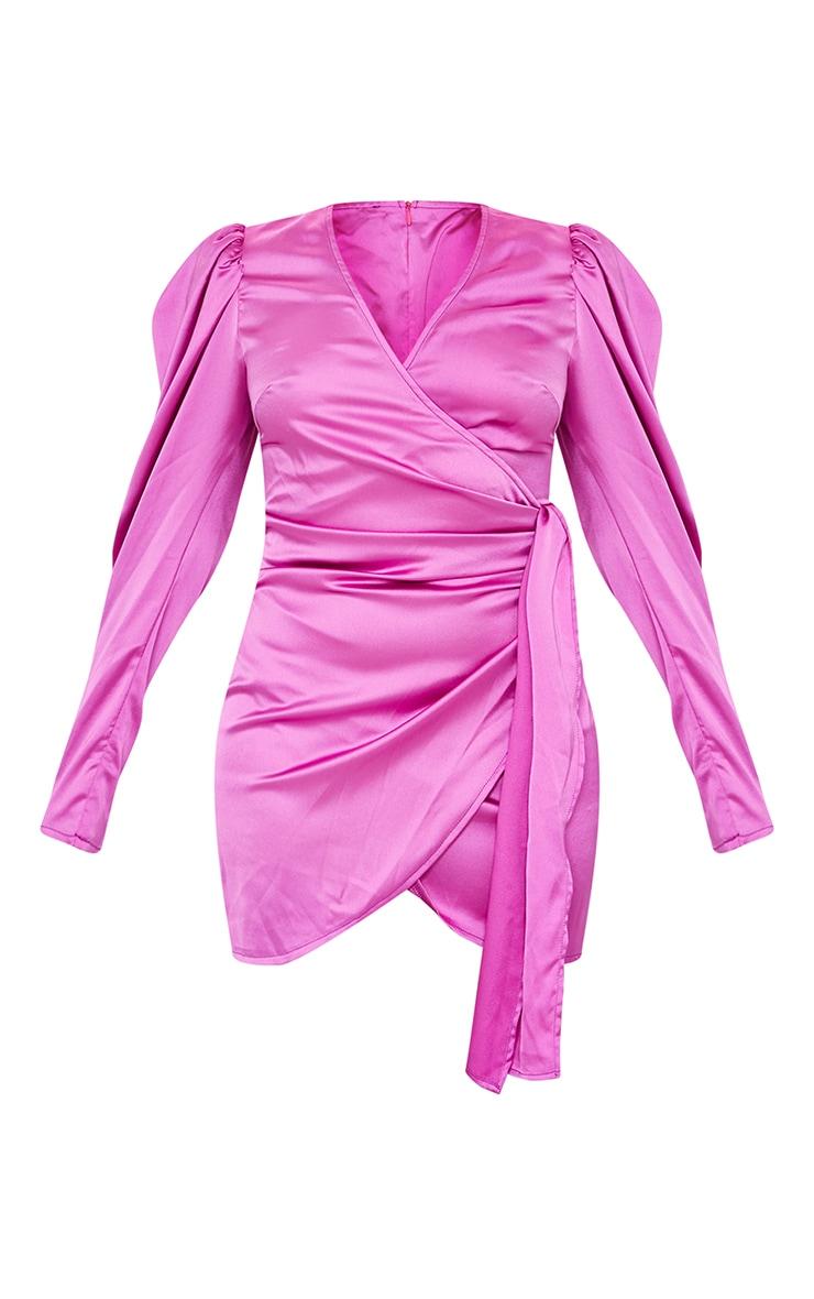 Petite Purple Satin Tie Waist Bodycon Dress 5
