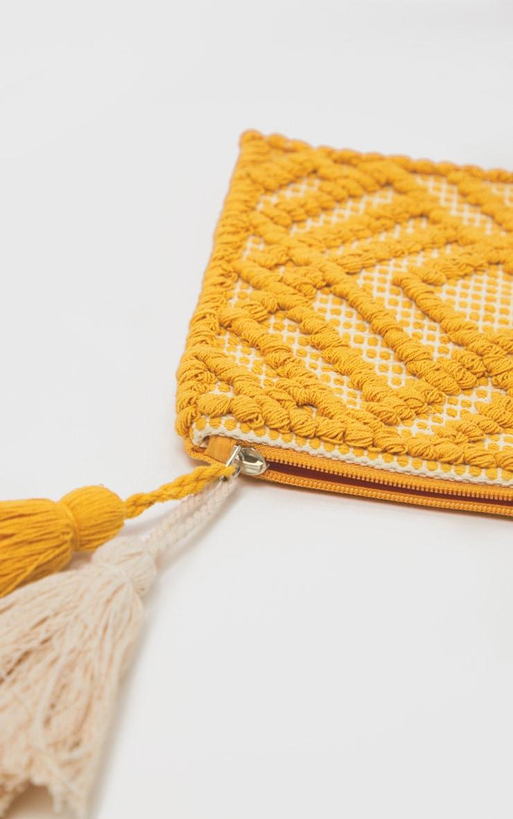 Orange Cotton Tassel Detail Clutch Bag 3