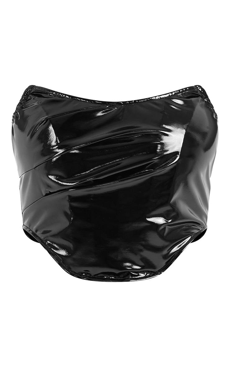 Black Vinyl Boned Curved Hem Corset 5
