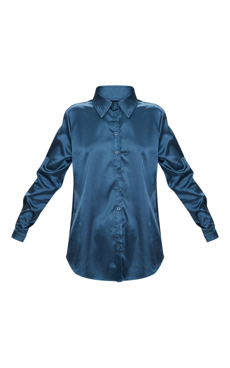 Teal Satin Button Front Shirt  3