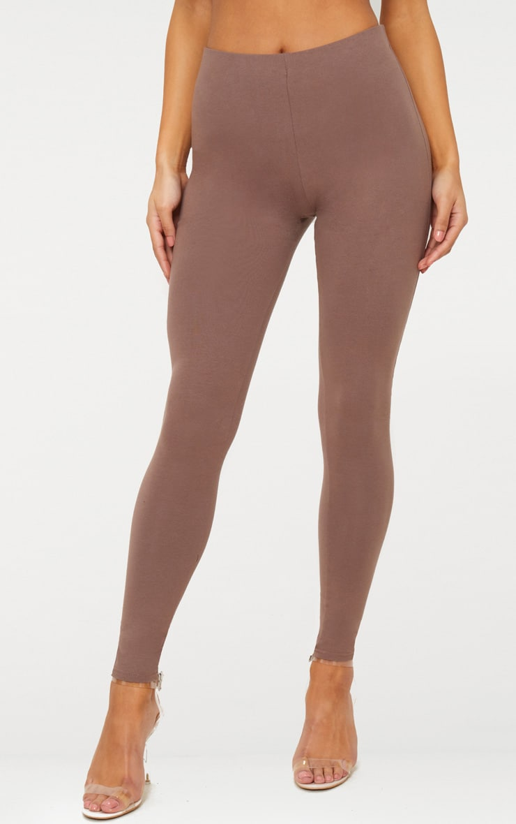 Brown High Waisted Cotton Stretch Leggings  2
