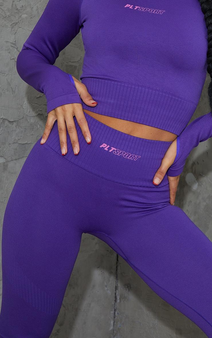 Purple Side Detail High Waist Gym Leggings 4