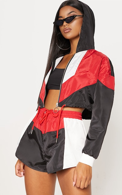 Black Colour Block Hooded Shell Suit Jacket