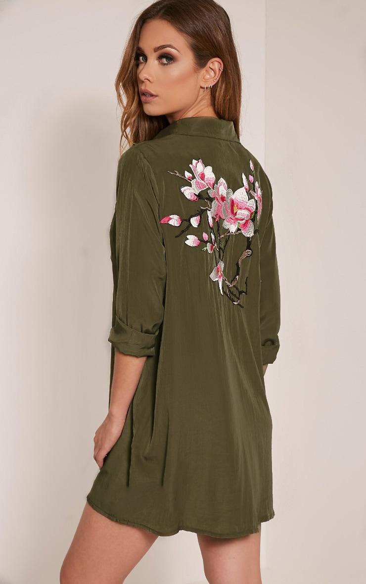 Reeana Khaki Floral Applique Silk Feel Shirt Dress 1