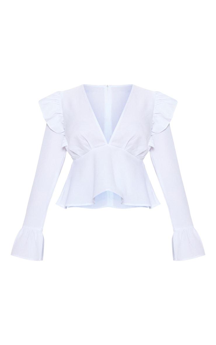 Petite White Frill Detail Flare Sleeve Blouse 3