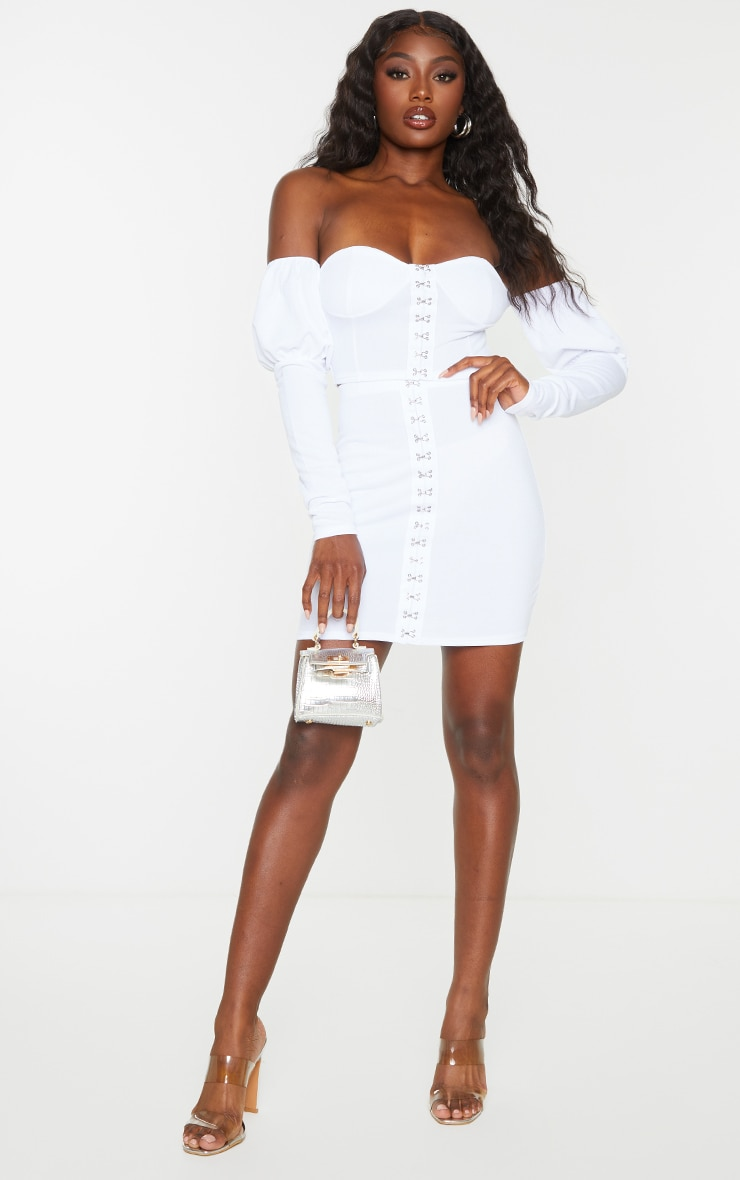 White Hook & Eye Mini Skirt 1