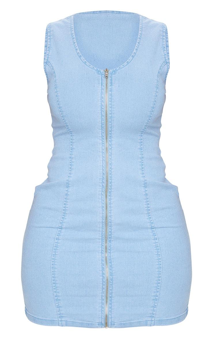 Shape Light Blue Wash Denim Zip Front Bodycon Dress 5