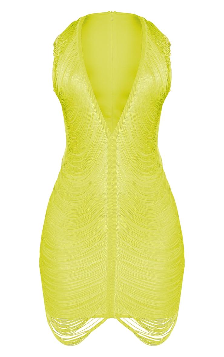 Lime Extreme Plunge Tassel Bodycon Dress 3