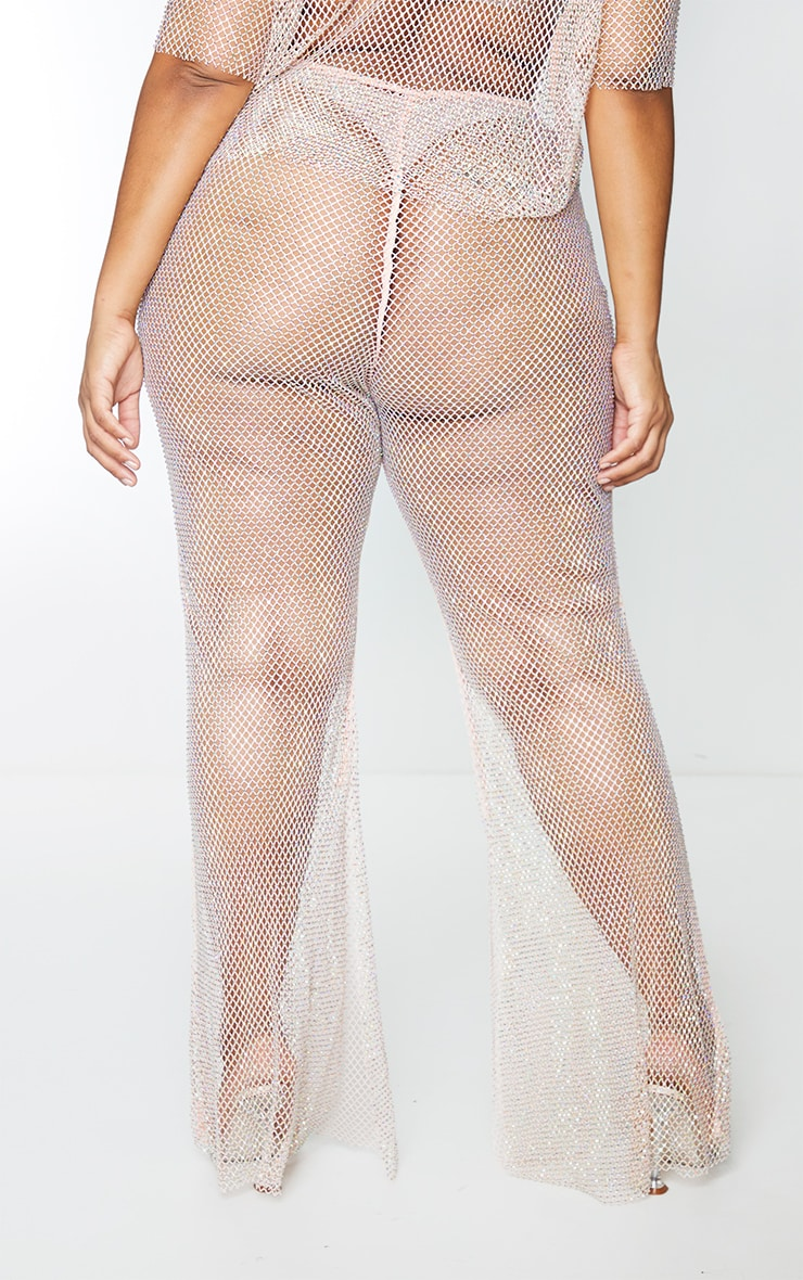 Plus Baby Pink Diamante Fishnet Flare Trousers 3
