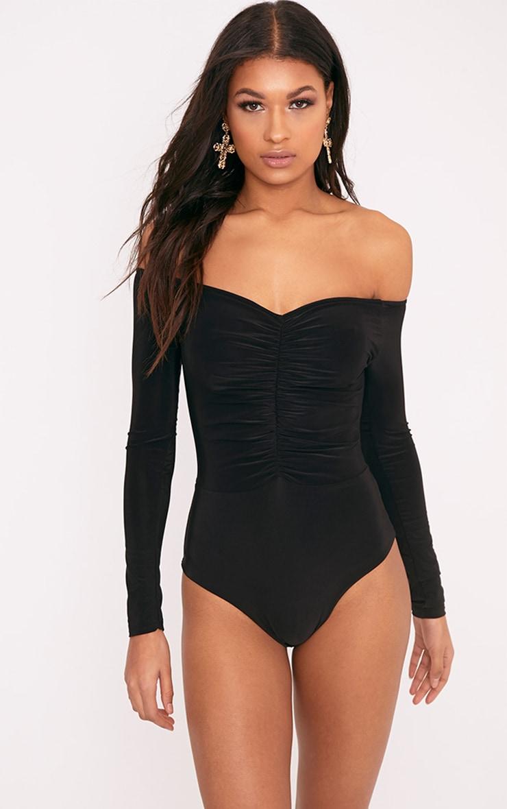 Mella Black Bardot Ruched Slinky Thong Bodysuit