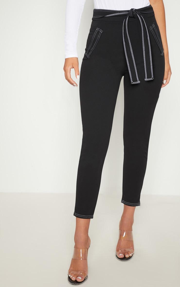 Black Contrast Stitch Tie Waist Skinny Trouser 2