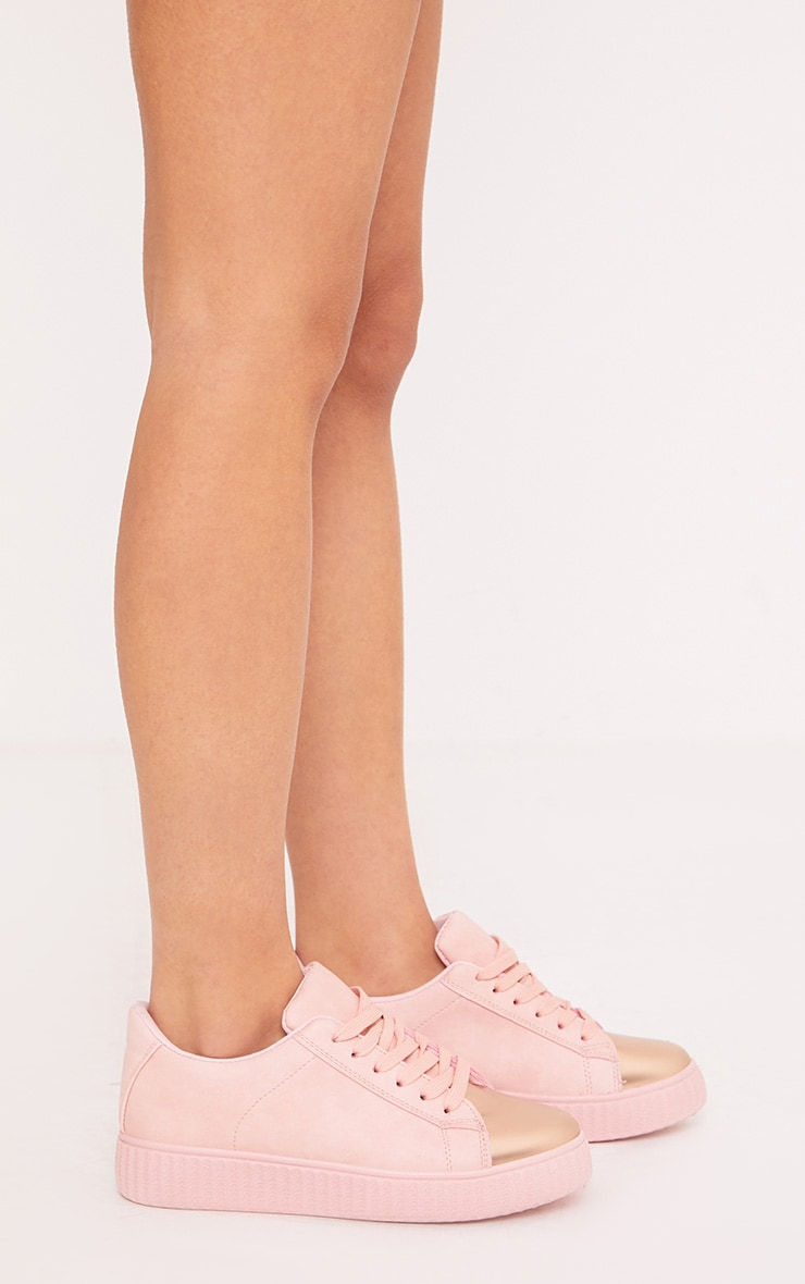 Amera Blush Faux Suede Trainers 4