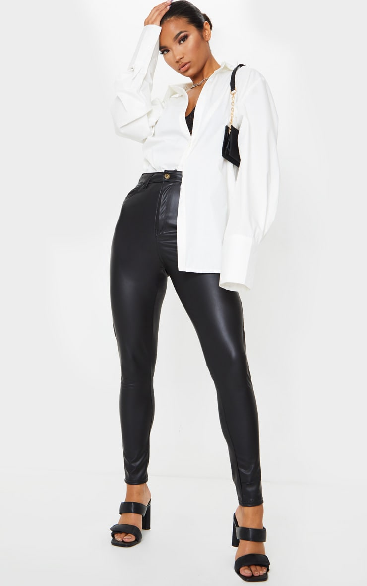 Black Button Up PU Skinny Pants 1