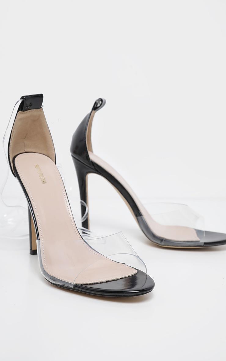 Sandales à talons noires à lacets transparents 3