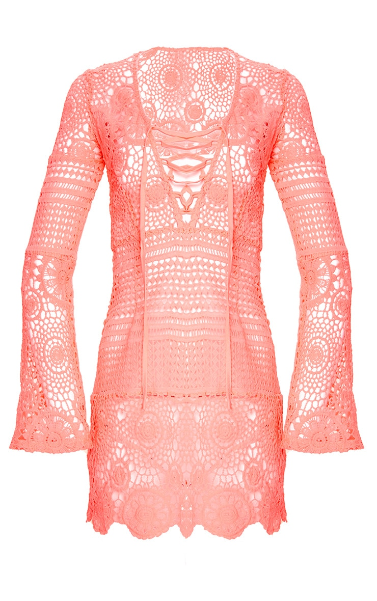 Neon Pink Tie Front Flare Sleeve Crochet Lace Shift Dress 4