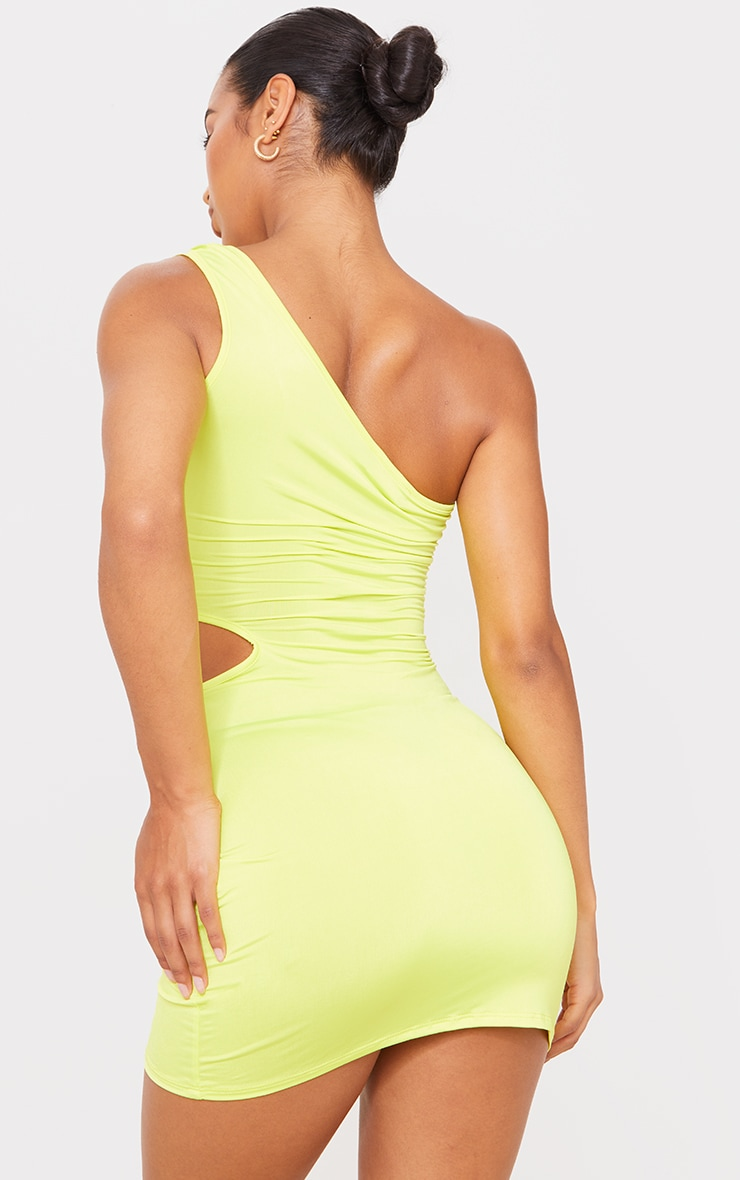 Lime Slinky One Shoulder Waist Cut Out Bodycon Dress 2