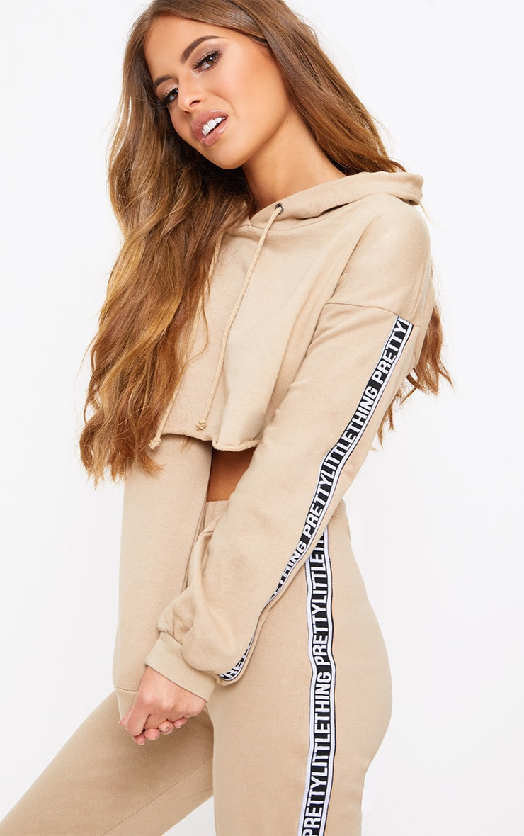 PRETTYLITTLETHING Petite Taupe Cropped Hoodie 1