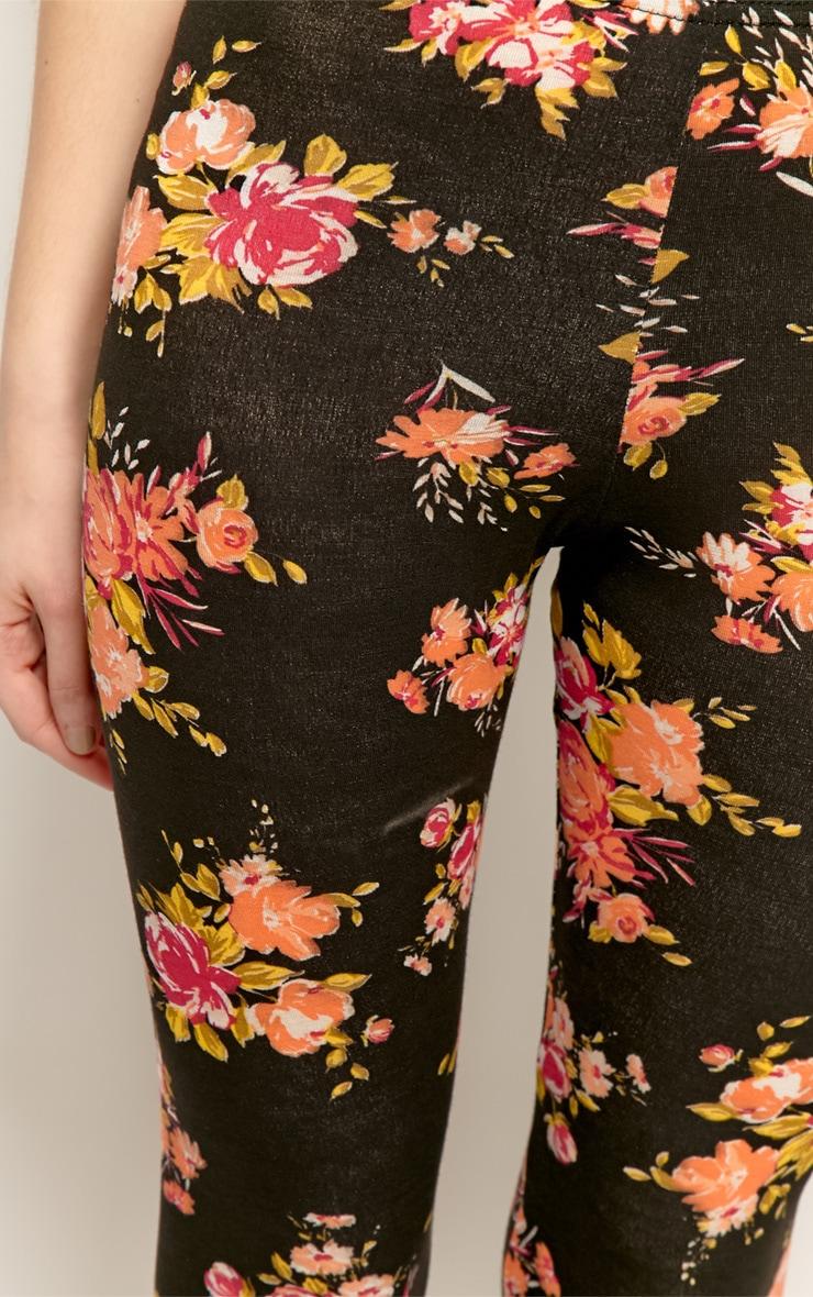 Annabella Black Floral Leggings 4