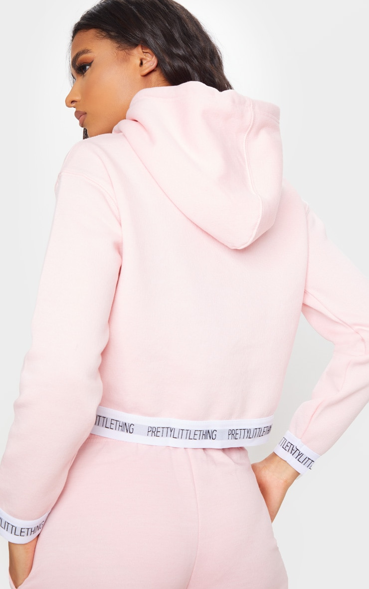 PRETTYLITTLETHING Baby Pink Trim Cropped Hoodie 2
