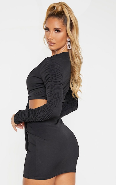 Black Textured Slinky Ruched Arm Cut Out Bodycon Dress