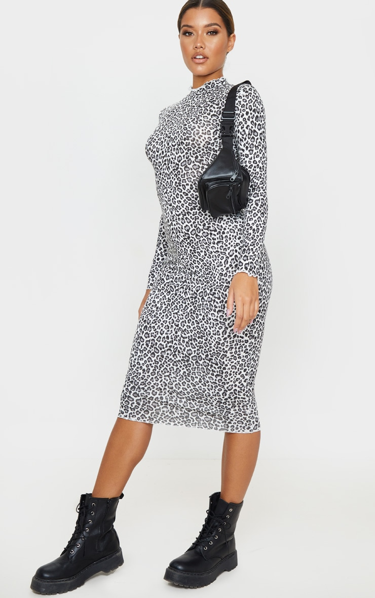 Black Leopard Print Frill Edge Midi Dress 4