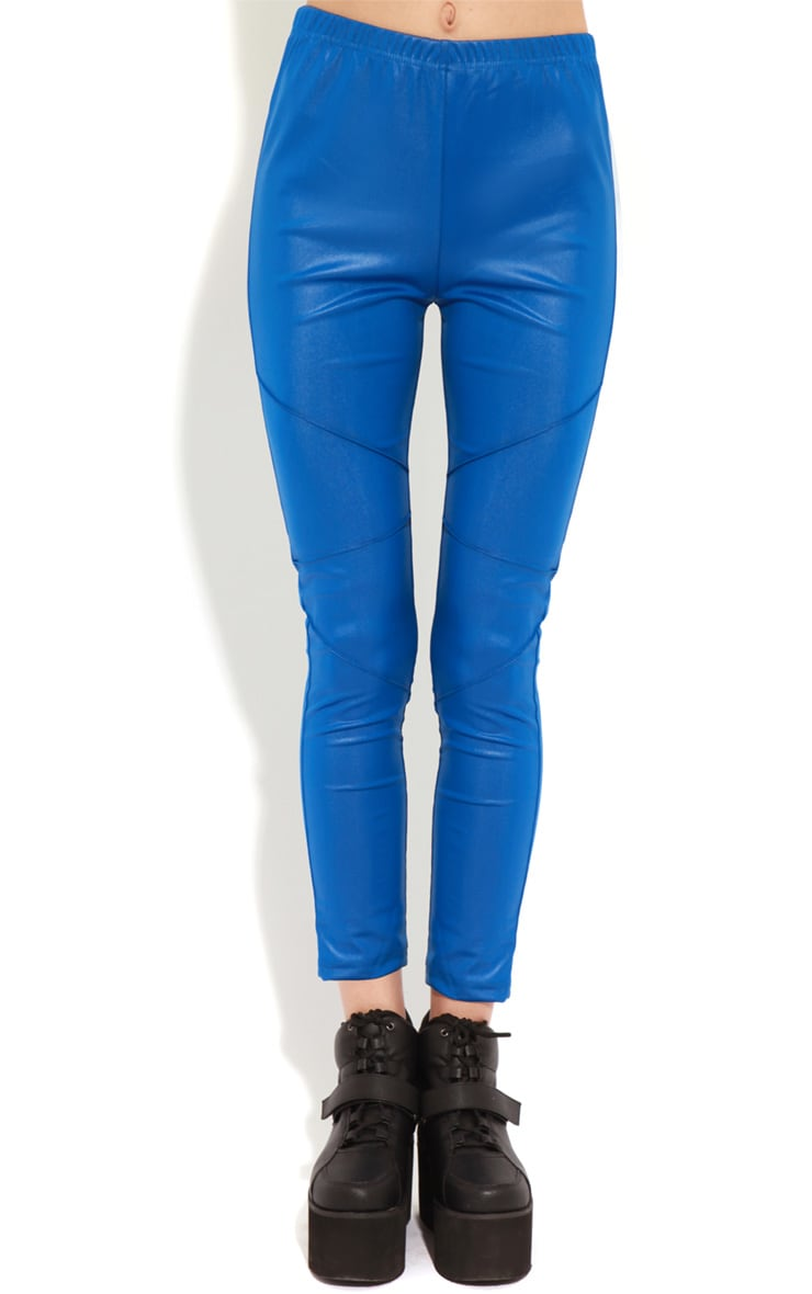Evie Electric Blue Leather Panel Leggings 3