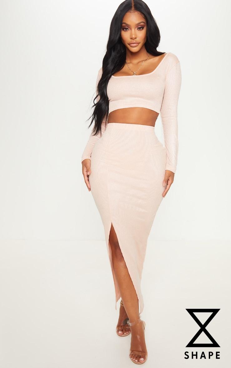 Shape Champagne Metallic Rib Midaxi Skirt  by Prettylittlething