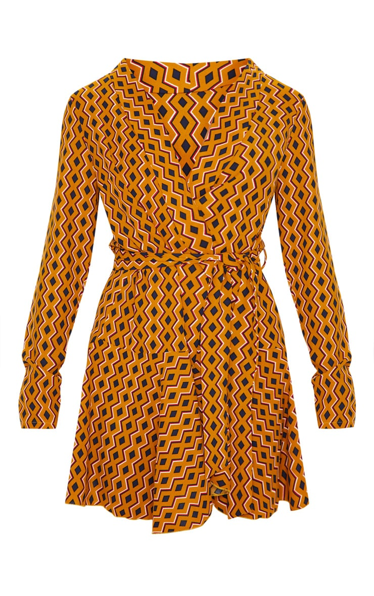 Mustard Geometric Print Wrap Skater Dress 3