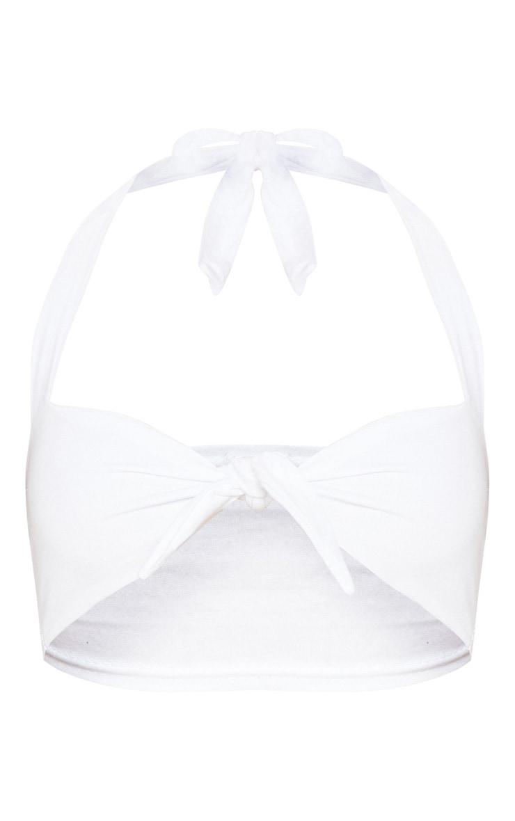White Halterneck Bow Bralet 3