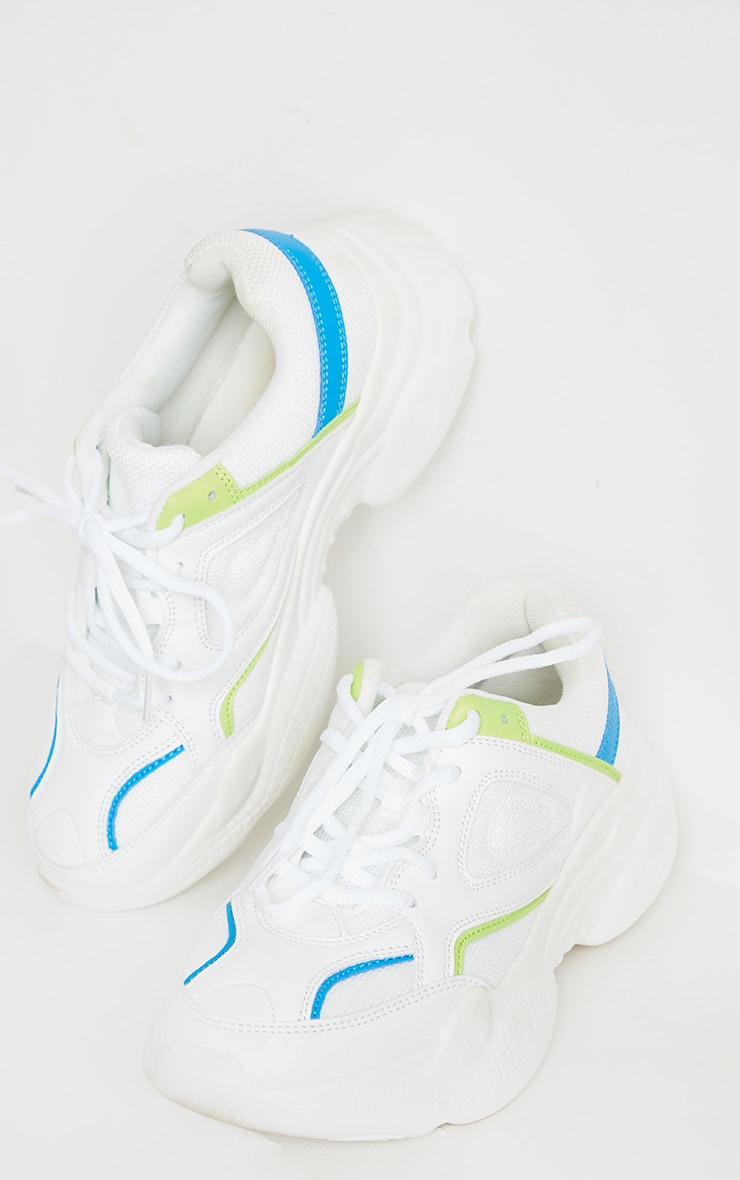 White Constant Colour Panels Arch Sole Chunky Sneakers 3