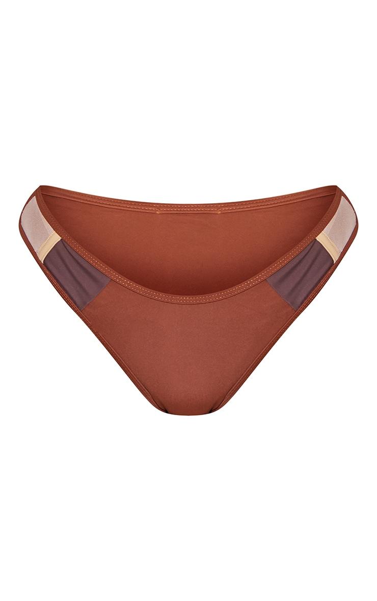Brown Contrast High Leg Bikini Bottoms 5