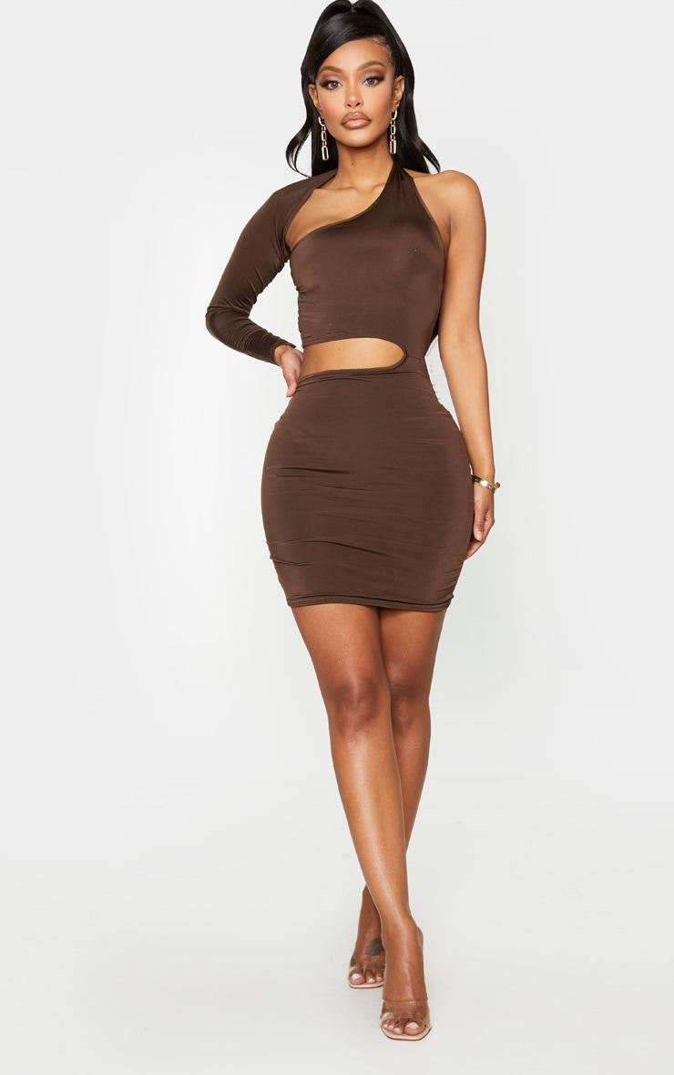 Shape Chocolate Brown Slinky Cut Out One Sleeve Bodycon Dress 3