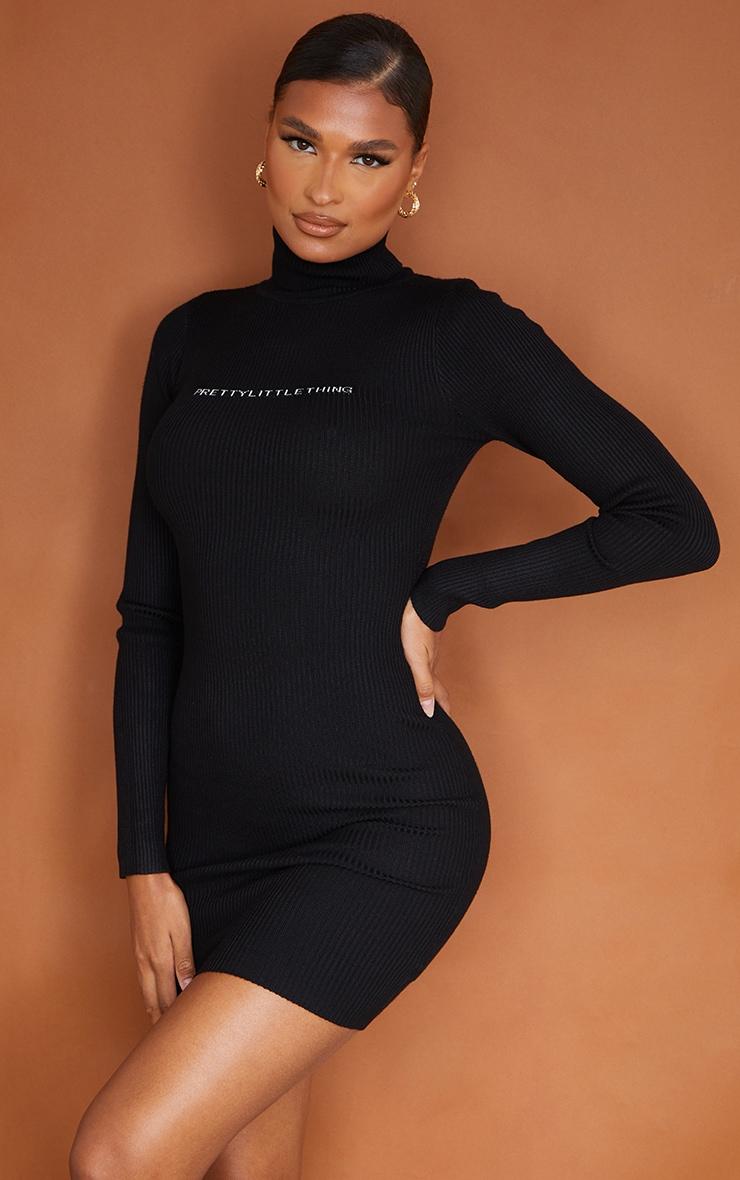 PRETTYLITTLETHING - Robe moulante en maille côtelée noire 1