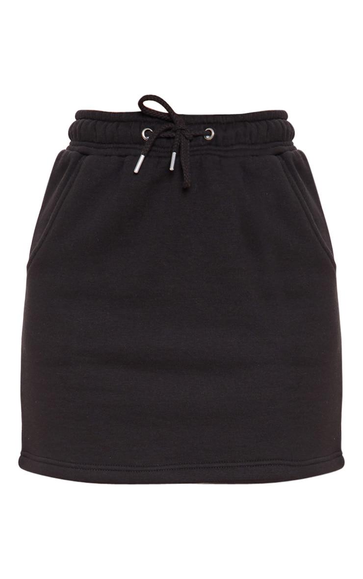Mini-jupe en sweat noir à cordon 3
