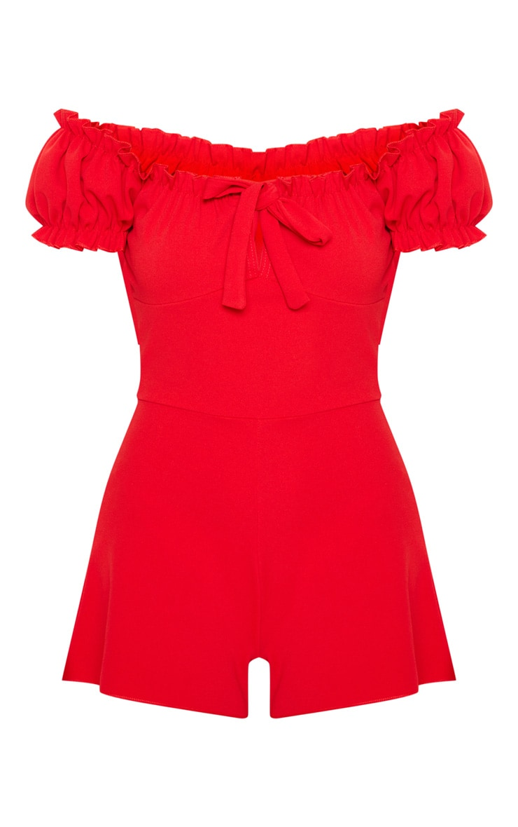 Red Ruffle Detail Puff Sleeve Bardot Romper 3