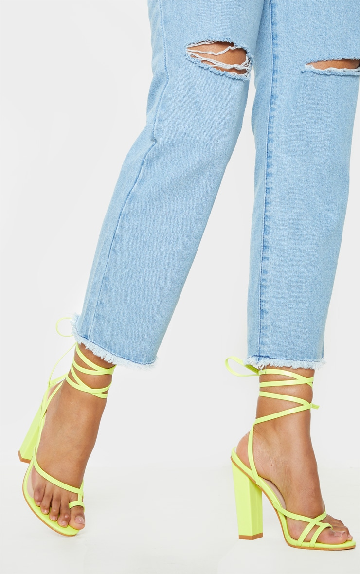 Neon Yellow Toe Loop Heeled Sandal 1