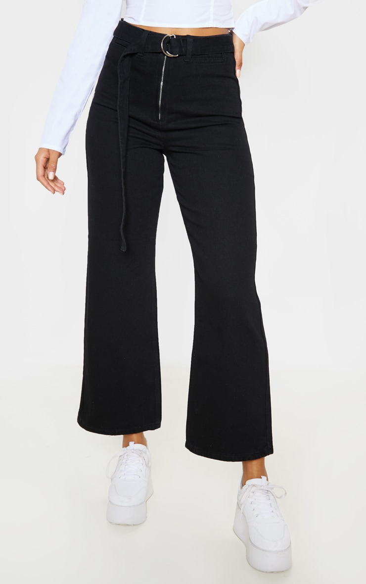 Washed Black Belted Cropped Wide Leg Jeans  2