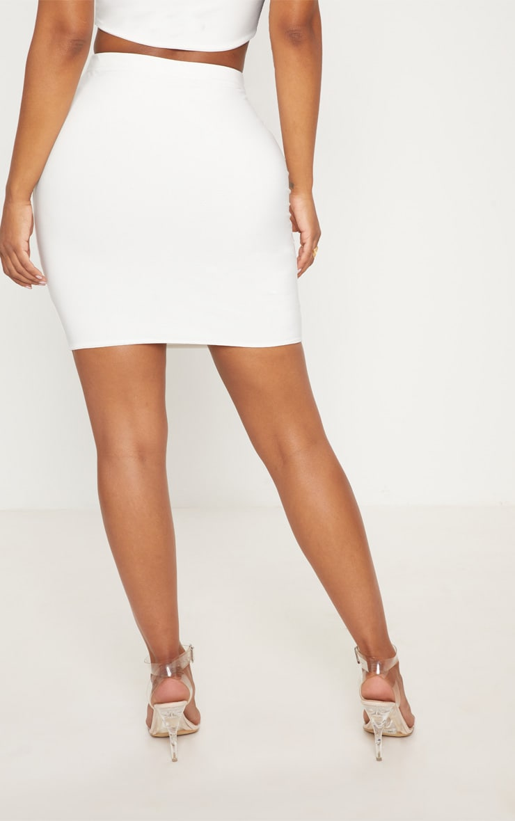 Shape Ivory Slinky Mini Skirt 4