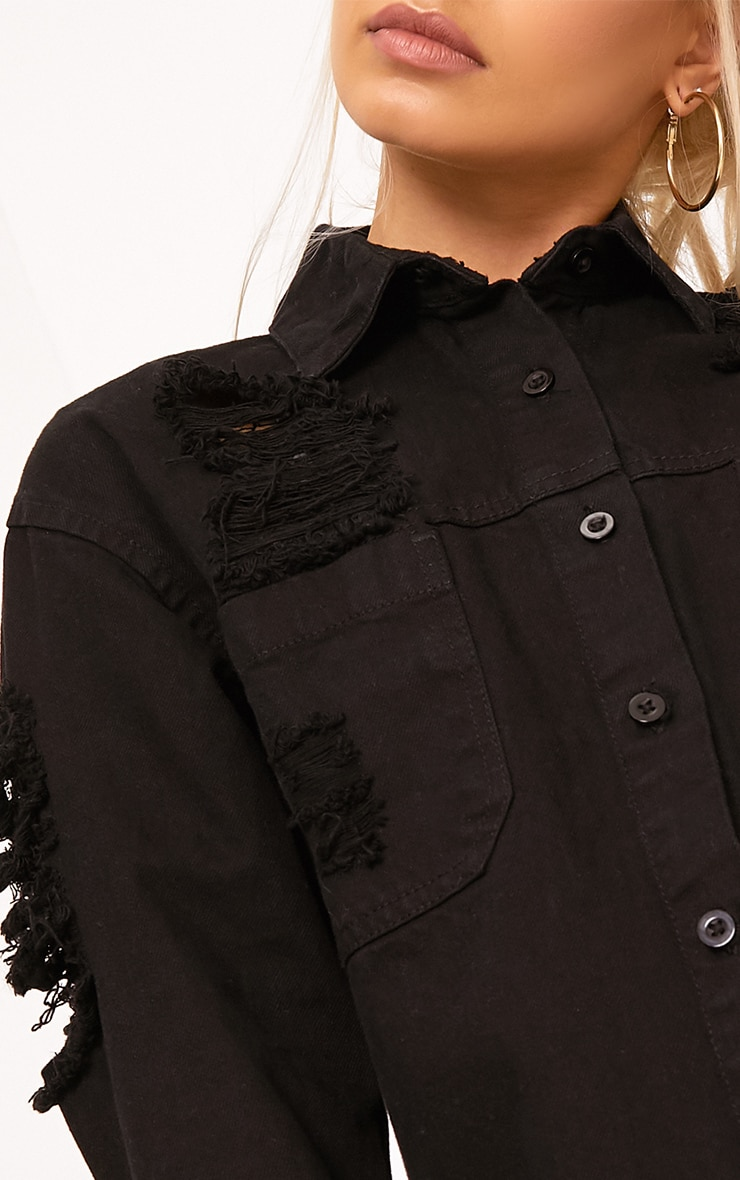 Ferne Black Super Shred Denim Shirt 5